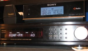 My radios simultaneously receiving FM stations from Maryland (WPGC) and Texas (KUHF) during an E-Skip opening in 2008.