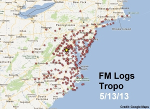Click to enlarge.  This map shows every location I've received stations via tropo since 1999.