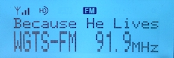 WGTS 91.9's new HD Radio readout