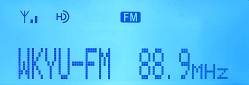 Call letters from HD Radio signals appear on-screen when received on the Sony XDR-F1HD, resulting in a slam-dunk, positive ID.