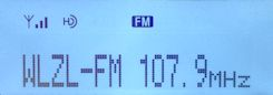 HD Radio display while tuned to 107.9 WLZL Annapolis, MD