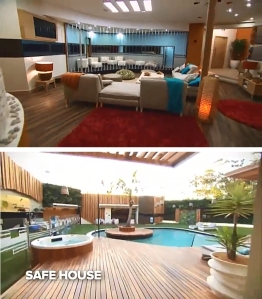 The Big Brother Australia 2013 house, outdoors (top), indoors (right).  Click to enlarge.  Credit: Nine Network.