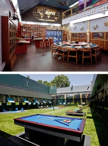 The Big Brother USA 2013 house, indoors (top), outdoors (right). Click to enlarge. Credit: CBS, BigBrotherNetwork.com.