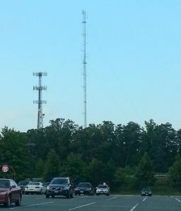 Tower (right) for translator 89.7 W210BY Woodbridge, VA on 8/11/13.