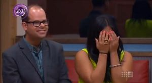 BBAU housemate Mikkayla (right) cries after hearing Ben (left) was evicted from the game.  Housemates later learned Ben's eviction was staged.