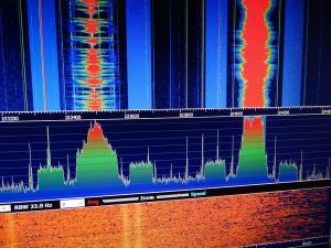 Local 103.5 WTOP and 104.1 WPRS tuned in via the RTL-SDR.  Note the HD Radio digital signals surrounding both signals.