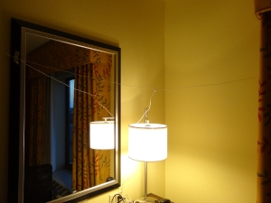 My dipole antenna array in a Florida hotel room.  Click to enlarge.