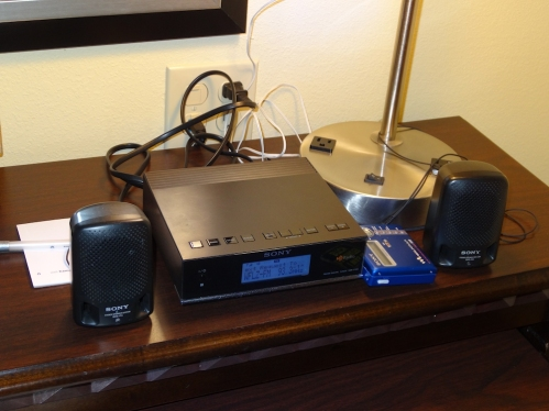 My DXing equipment set up in a Florida hotel in 2015.